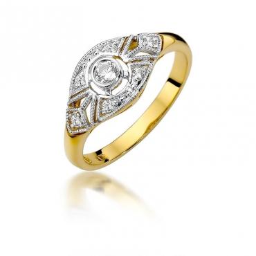 Złoty pierścionek z diamentem EY-413 0,19ct