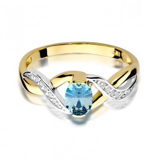 Złoty pierścionek z diamentem EY-28 topaz
