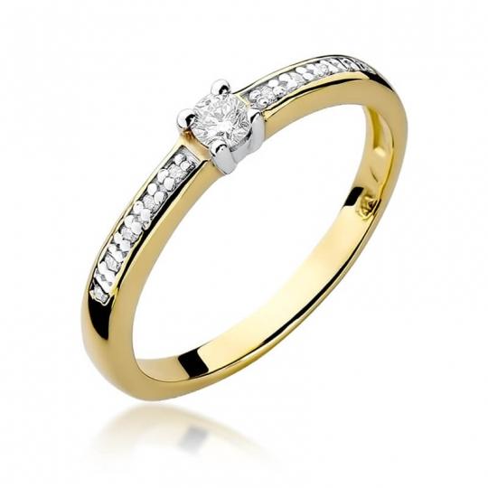 Złoty pierścionek z diamentem EY-288 0,13ct