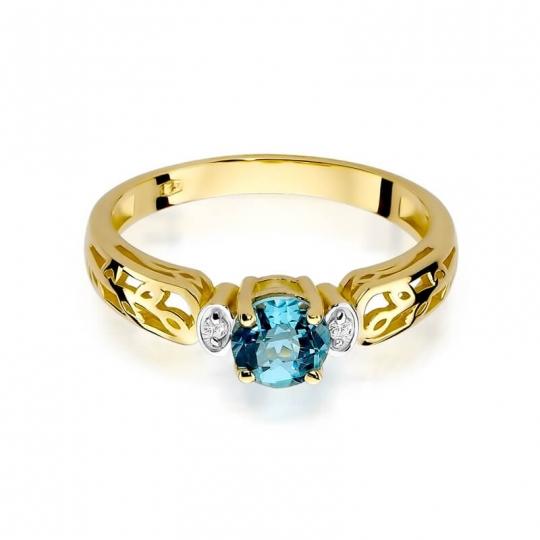 Złoty pierścionek z diamentem EY-14 topaz