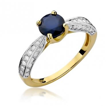 Złoty pierścionek z diamentem EY-206 szafir