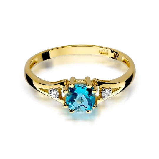 Złoty pierścionek z diamentem EY-44 topaz