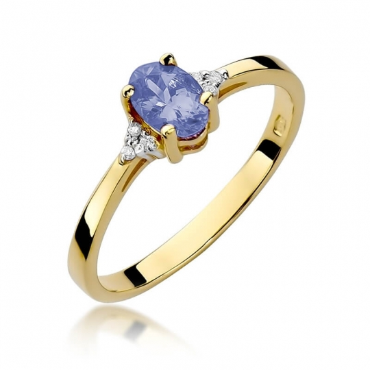 Złoty pierścionek z diamentem EY-301 tanzanit