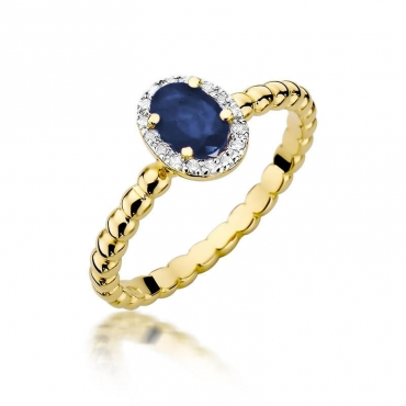 Złoty pierścionek z diamentem EY-359 szafir