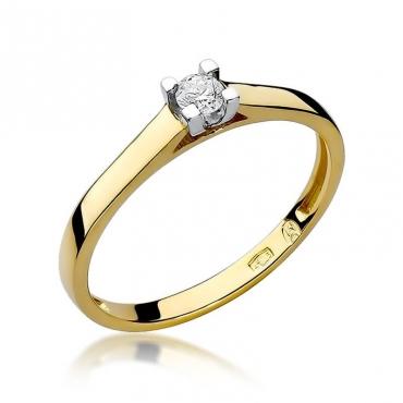 Złoty pierścionek z diamentem EY-221 0,08ct