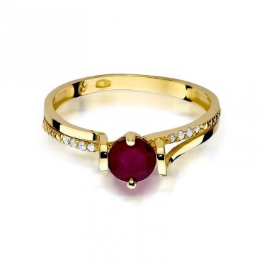 Złoty pierścionek z diamentem EY-102 granat