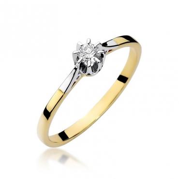 Złoty pierścionek z diamentem EY-209 0,10ct