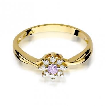 Złoty pierścionek z diamentem EY-72 ametyst