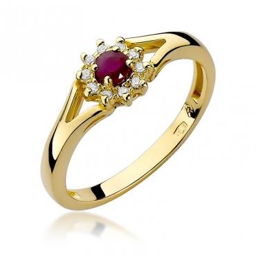 Złoty pierścionek z diamentem EY-185 rubin