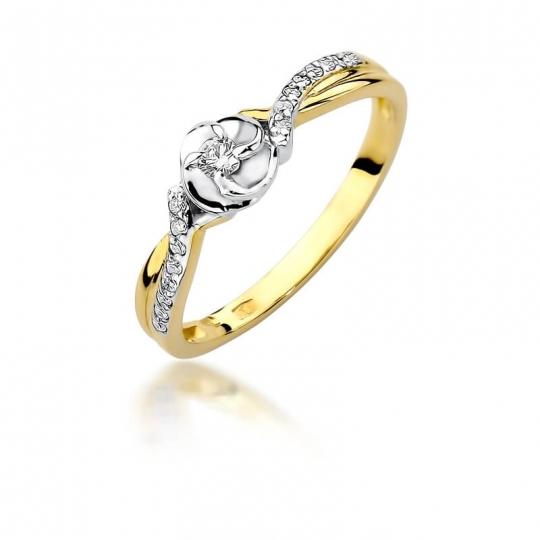 Złoty pierścionek z diamentem EY-420 0,12ct