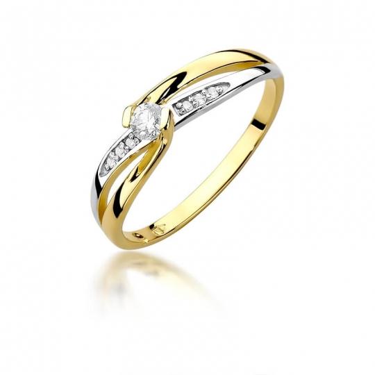 Złoty pierścionek z diamentem EY-415 0,13ct