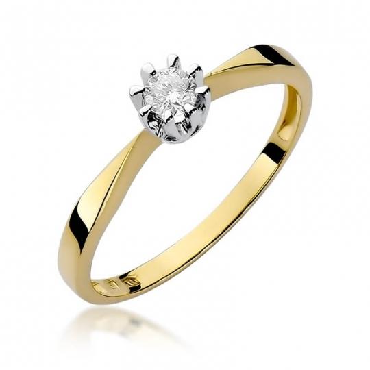 Złoty pierścionek z diamentem EY-173 0,15ct