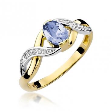 Złoty pierścionek z diamentem EY-28 tanzanit