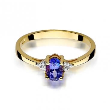Złoty pierścionek z diamentem EY-301 szafir