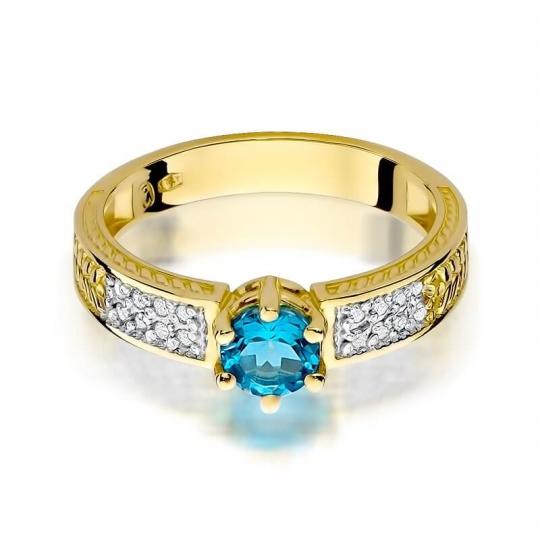 Złoty pierścionek z diamentem EY-75 topaz