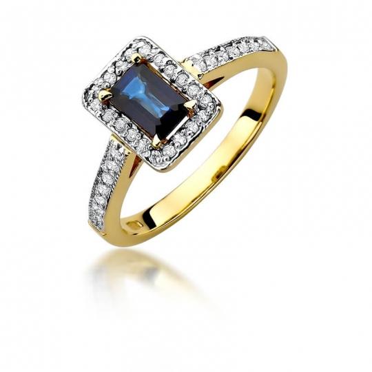 Złoty pierścionek z diamentem EY-422 szafir