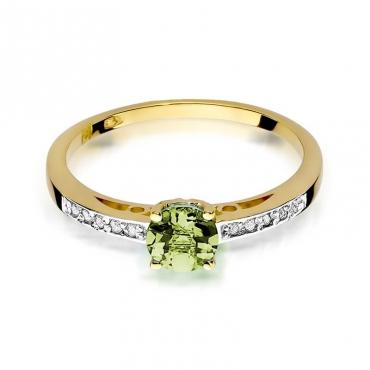 Złoty pierścionek z diamentem EY-66 oliwin