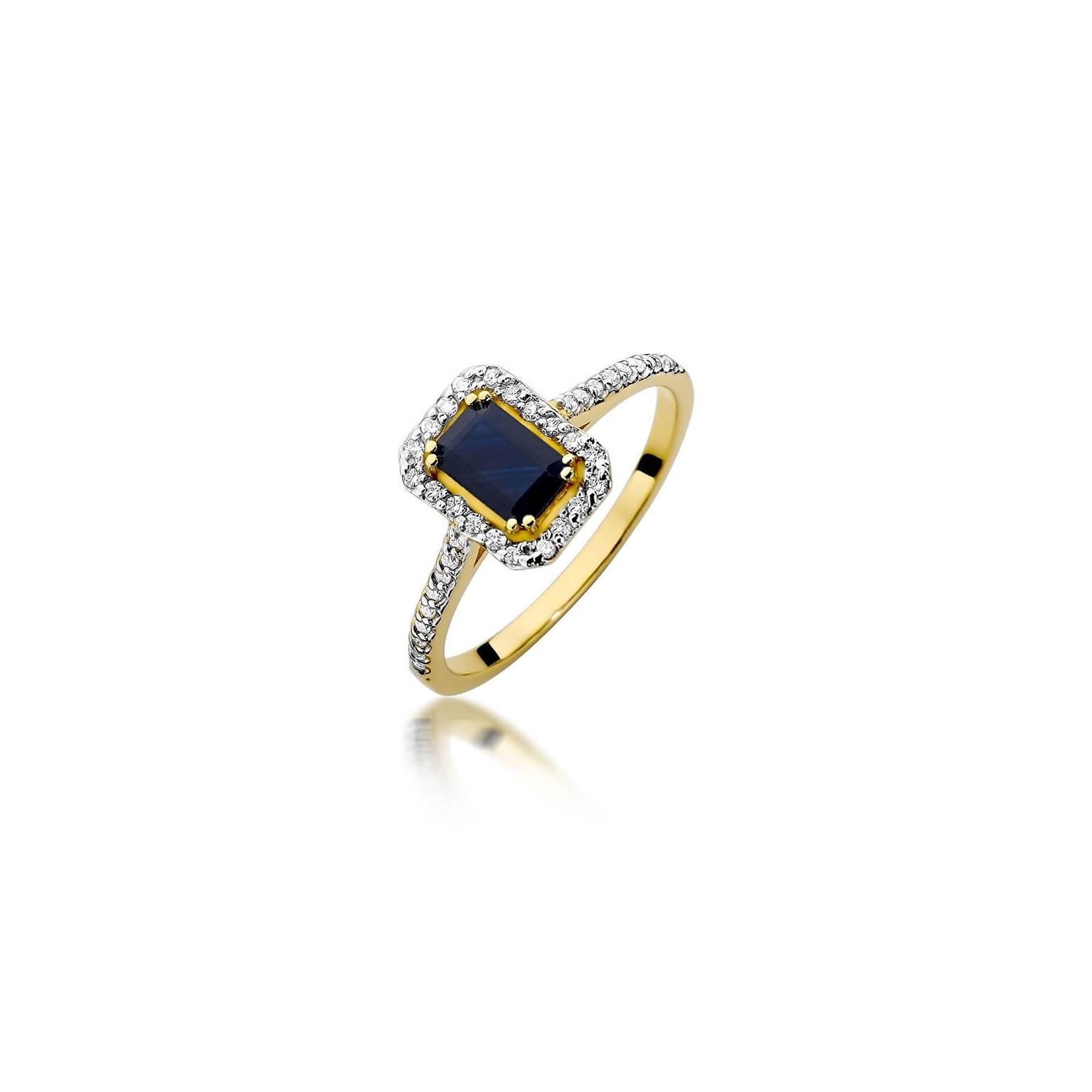 Złoty pierścionek z diamentem EY-403 szafir