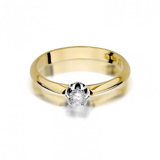 Złoty pierścionek z diamentem EY-134 0,10ct