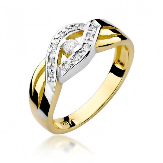 Złoty pierścionek z diamentem EY-83 0,10ct