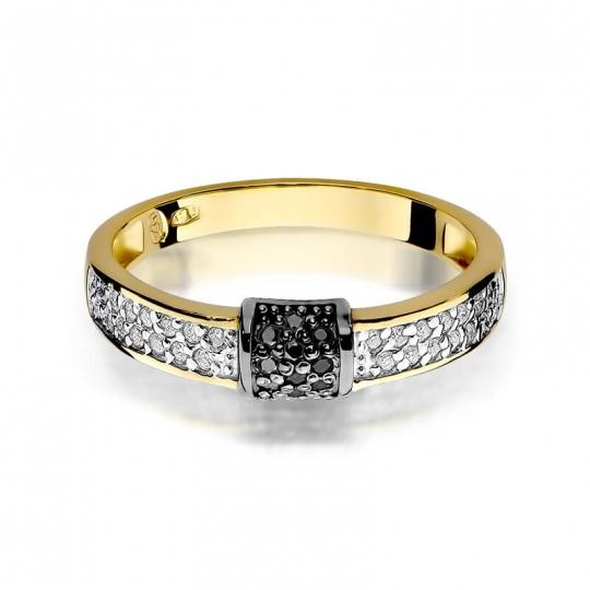 Złoty pierścionek z diamentem EY-297 białe brylanty 0,14ct