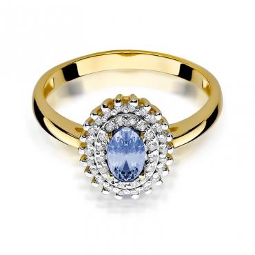 Złoty pierścionek z diamentem EY-303 tanzanit