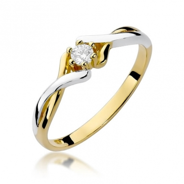 Złoty pierścionek z diamentem EY-190B 0,10ct