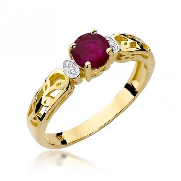 Złoty pierścionek z diamentem EY-14 rubin