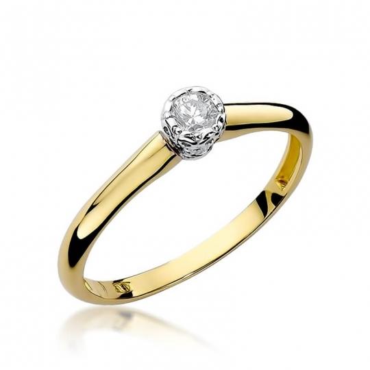 Złoty pierścionek z diamentem EY-42 0,13ct