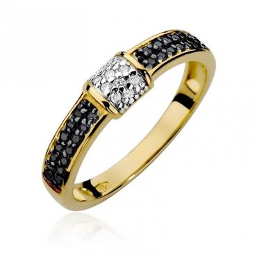 Złoty pierścionek z diamentem EY-297 białe brylanty 0,05ct