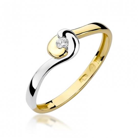 Złoty pierścionek z diamentem EY-195 0,04ct