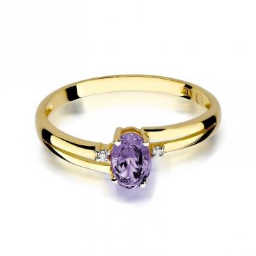Złoty pierścionek z diamentem EY-68 tanzanit