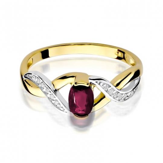 Złoty pierścionek z diamentem EY-28 rubin