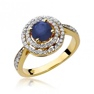Złoty pierścionek z diamentem EY-274 szafir