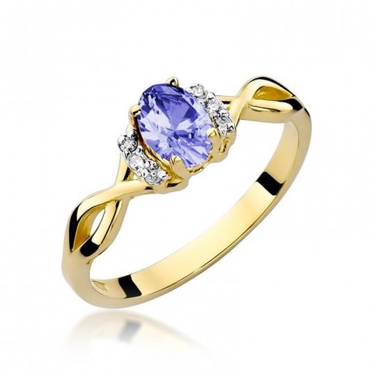 Złoty pierścionek z diamentem EY-19 tanzanit