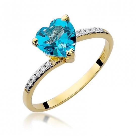 Złoty pierścionek z diamentem EY-50 topaz