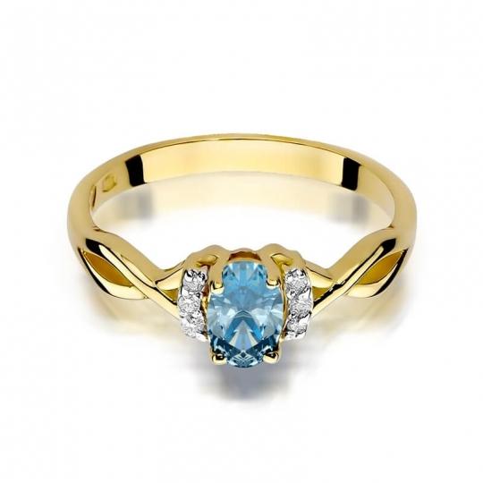 Złoty pierścionek z diamentem EY-19 topaz