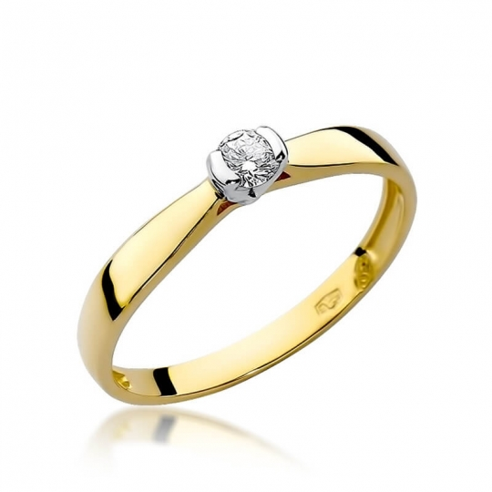 Złoty pierścionek z diamentem EY-223 0,10ct