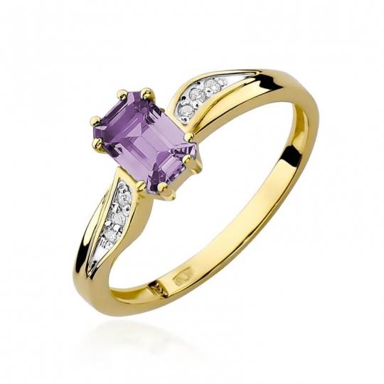 Złoty pierścionek z diamentem EY-94 ametyst