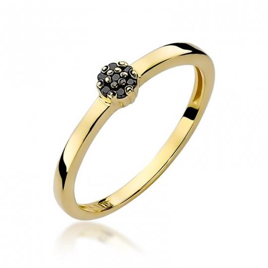 Złoty pierścionek z diamentem EY-100 czarne brylanty
