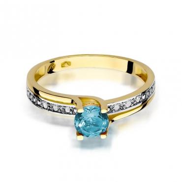 Złoty pierścionek z diamentem EY-106 topaz