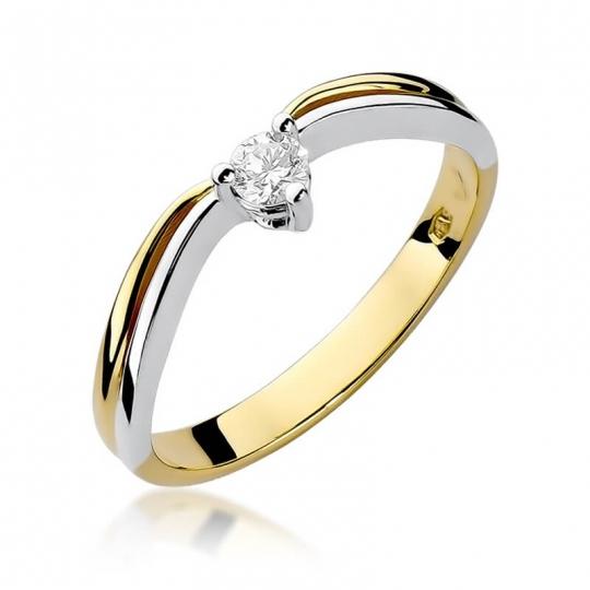 Złoty pierścionek z diamentem EY-261 0,15ct