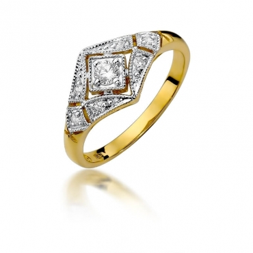 Złoty pierścionek z diamentem EY-412 0,19ct