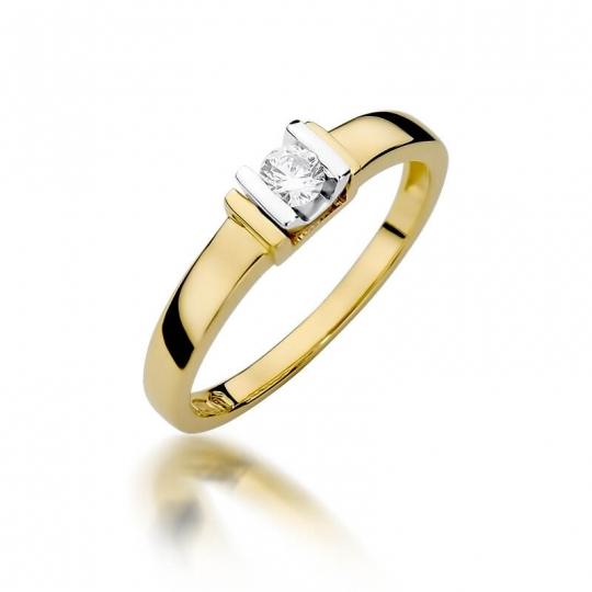 Złoty pierścionek z diamentem EY-343 0,10ct
