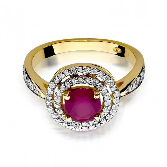 Złoty pierścionek z diamentem EY-274 rubin