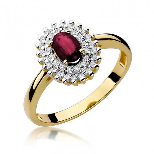 Złoty pierścionek z diamentem EY-303 rubin
