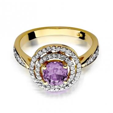 Złoty pierścionek z diamentem EY-274 ametyst