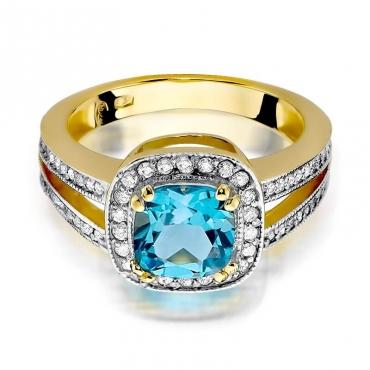 Złoty pierścionek z diamentem EY-307 topaz