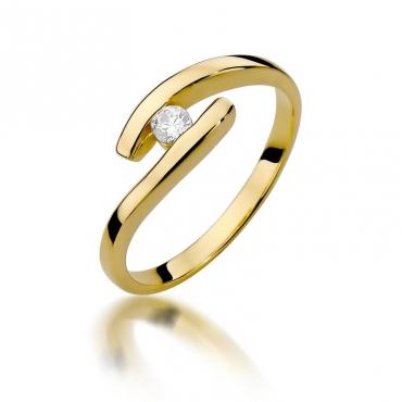 Złoty pierścionek z diamentem EY-373 0,09ct
