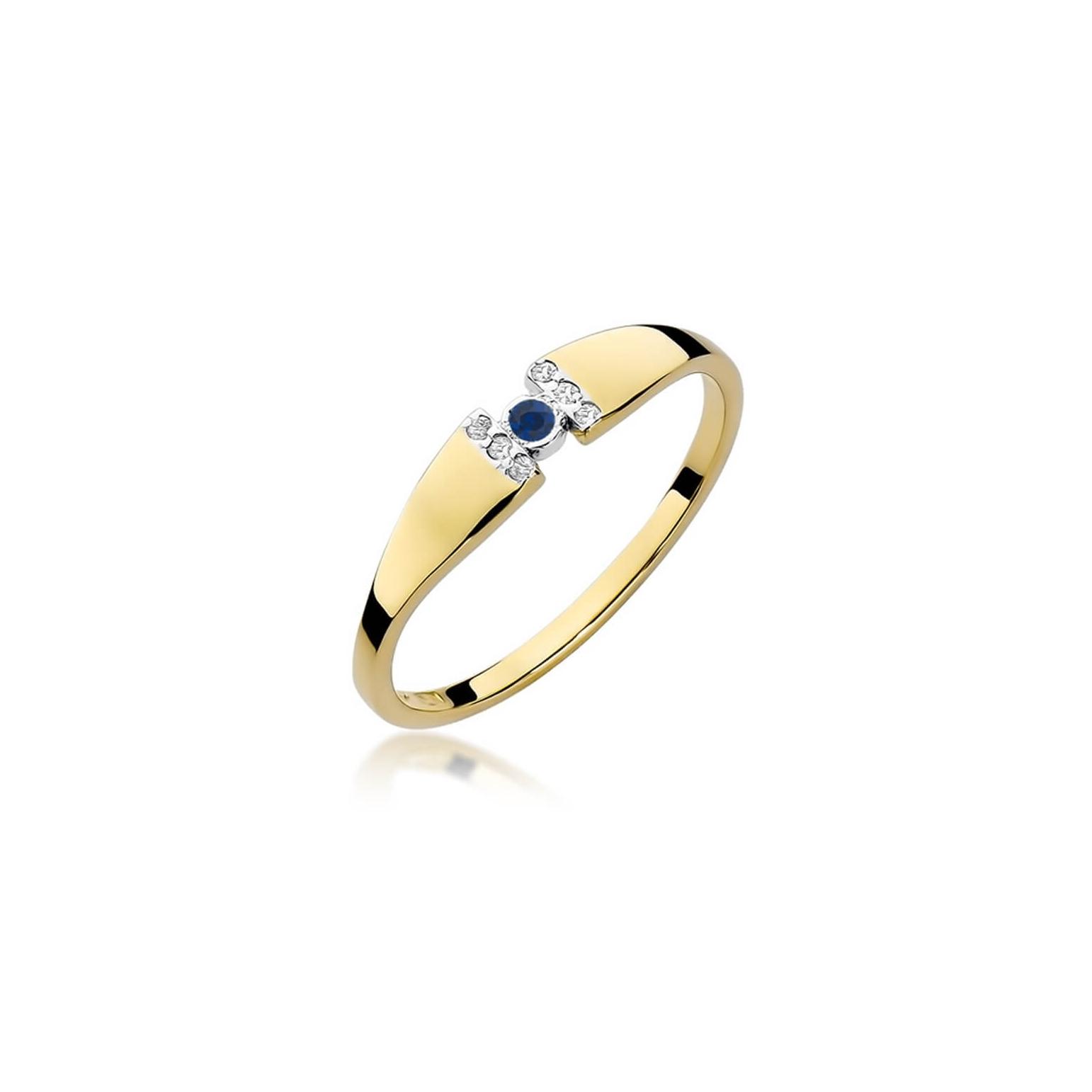 Złoty pierścionek z diamentem EY-321 szafir